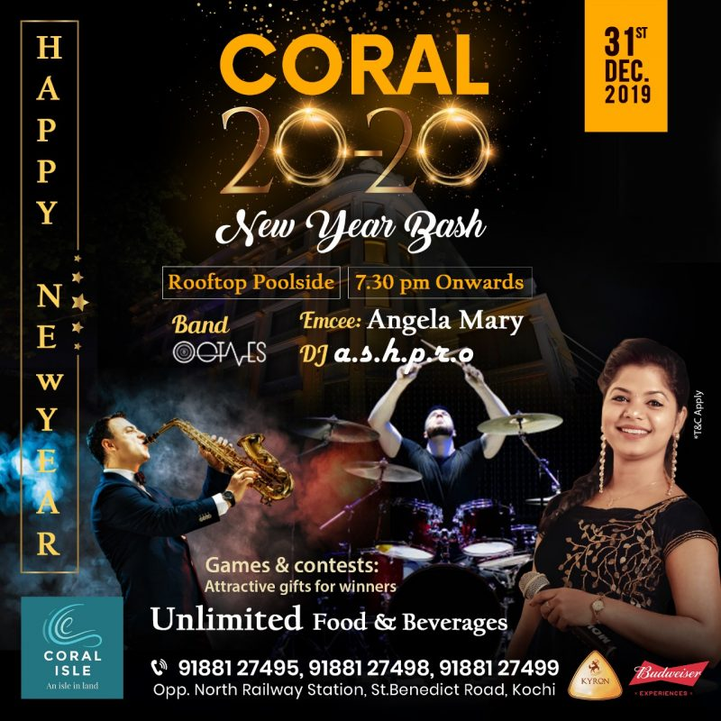 New Year Party 2020 Kochi Coral Isle